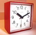 Ruhla Red Square Plastic Alarm Clock - Side