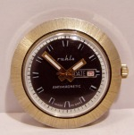 Ruhla UFO Case with Starburst texture Brown Dial with White Markings UMF24-33 Caliber